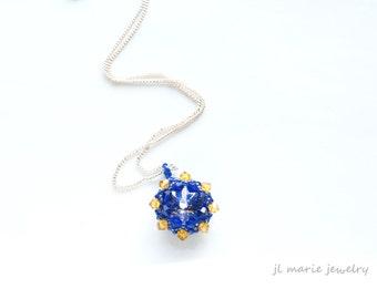 blue & gold crystal pendant necklace . delta delta delta . theta phi alpha . phi sigma alpha . sigma delta tau . sigma gamma rho