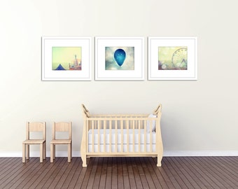 carnival pictures, nursery wall art, set of 3 photos, toddler boy art, circus decor, blue and green art, boy nursery art, toddler room decor