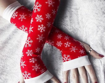 Comfort and Joy Arm Warmers - Rich Red Ice White Snowflakes Cotton - Winter Yoga Christmas Gloves Holiday Frozen Snow Gift Idea Cycling
