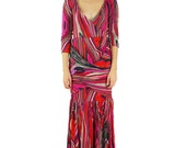 Women's Azaria 3/4 Length sleeve criss cross front style Maxi Dress-Size Small
