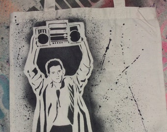 Say Anything tote bag Lloyd Dobler 80s movie canvas book grocery tote John Cusack In Your Eyes boombox