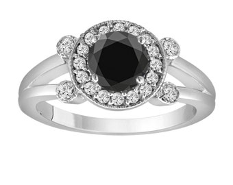 Fancy Black Diamond Engagement Ring 14k White Gold 1.03 Carat Unique Halo Pave Certified Handmade