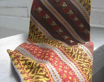 Vintage 1970s mens necktie - retro striped tie, heraldry print, studded fabric by Sergio & Bernardi