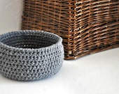 Small Grey Basket  Catchall Storage Bin Gray Modern Decor Contemporary Design Fruit Basket Dorm Decor Custom Colors