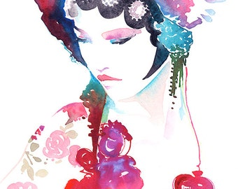 Original Watercolour Painting, Fashion Illustration. Titled: Chinaink