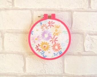 SALE! Vintage Floral Embroidered Hoop Art
