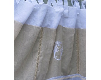 Long Sheer French Linen Fleur de Lis Window Curtain, Top Tie Tab custom Monogram, White Ecru Shabby Chic Wedding Curtain, 30 inches wide