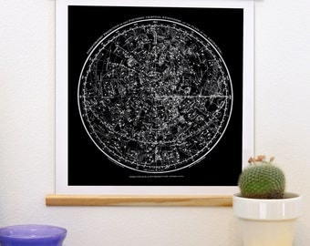 Astronomy Pull Down Chart Reproduction Canvas Print. Constellation Patterns from Antique French Book - Vintage Science Plate Print - CP224CV
