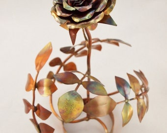 Medium Blossoming Multicolored Rose with Leave Base Copper Metal Sculpture