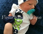 Newborn boy outfit, baby boy outfit, newborn hat, baby name onesie, trendy baby outfit