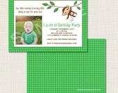 Monkey 1st Birthday Invitation - Green, Brown, Blue