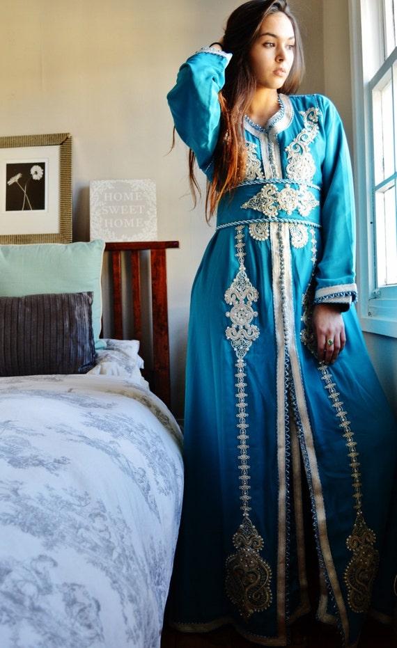 Moroccan Modern Turquoise Blue Embroidery Caftan Kafan-Kalia-moroccan parties, weddings,abbayas, honeymoon, birthday, anniversary gift