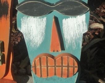 Tiki Mask With Feet, Wood Sculpture, Table Top Tiki, Tiki Man, Rustic Beach House, Tiki Bar
