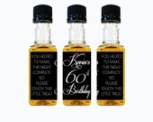 Custom Liquor Mini Bottle Favors 30th Birthday Personalized Labels and Empty 50 mL Bottles Alcohol Whiskey Party Favors Guest Gifts EB-1095