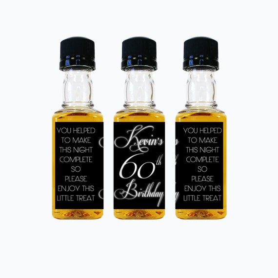 Custom liquor mini bottle favors 30th birthday personalized labels and