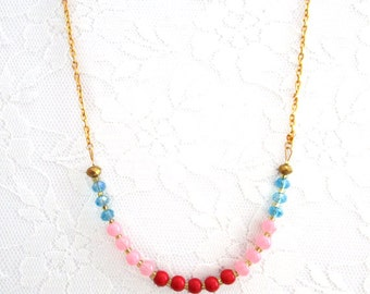 Aqua Bead Crystal Necklace Strand Red Pink Minimalist Necklace Boho Short Long Simple Modern Colorful gift for her
