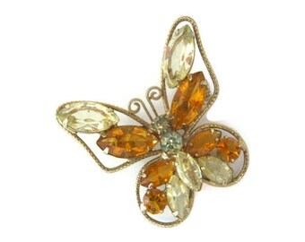 rhinestone butterfly brooch, pin, vintage, gold tone, amber color rhinestones, wedding bridal, wedding bouquet, nature inspired