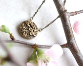 Cherry Blossom Necklace, Gold Flower Pendant, Flower Jewelry, Flower Girl Gift, Spring Bridesmaid Necklace, Cherry Blossom Art, Flower Charm