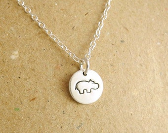 Teeny Tiny Hippo Necklace, Tiny Baby Hippo Necklace, Fine Silver, Sterling Silver Chain, Made To Order