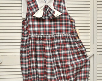 Vintage Womens Short set/Romper Jumper/80s School Girl Plaid/Deadstock NWT/2 Piece Set/Bib Collar Teacher Country Theater Costume Geek Nerd