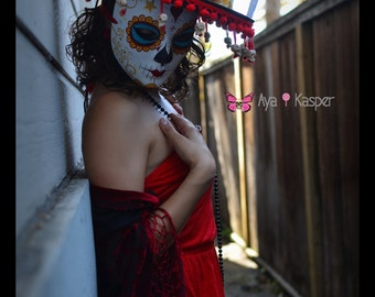 La Muerte - The book of Life Mask - Ready to Ship Halloween costume Sombrero Skull Crown Dia De los Muertos Skull Katrina catrina