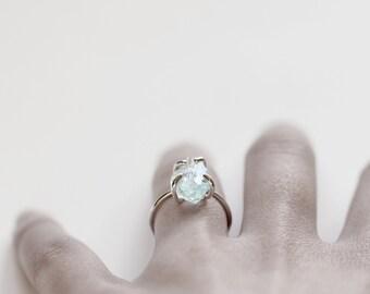 Rock . sterling silver organic blue aquamarine ring