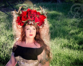 Red Crown Headdress Epic and Gorgeous 3D Printed Yule Deer Antlers -One of a kind Christmas Beauty Modeled by Lady Kai