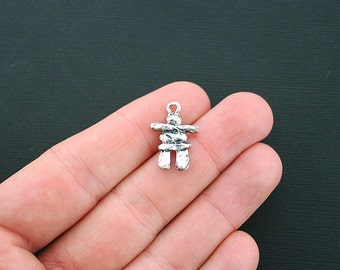 5 Inukshuk Charms Antique Silver Tone 2 Sided Rock Sculpture- SC4633