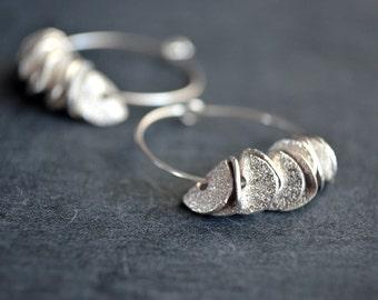 Silver Hoop Ruffle Earrings Sterling Hoop Dangle Beaded Earrings Small Everyday Earrings