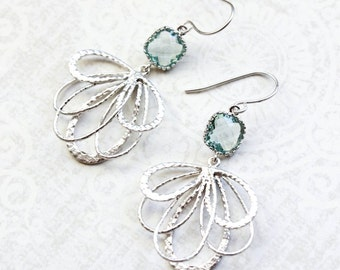 Aqua Glass Earrings Modern Silver Dangle Ribbon Filigree Floral Earrings Pretty Feather Bridesmaids Jewelry Gift for Girlfriend Nickel Free