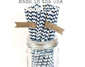 50 Navy Blue Paper Straws Made in the USA, Navy Chevron Striped Paper Straws, Rustic Wedding Vintage Baby Shower, Superhero Birthday Party