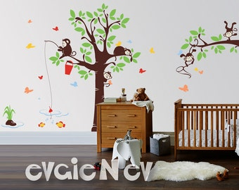 Playing Monkeys Wall Decal - Nursery Wall Decals, Acrobatic Monkey Nursery Decal and Baby Nursery Sticker -  PLMG060