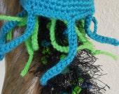 Crochet Stuffed Animal Jellyfish -TROPICANA-Turquoise Jellyfish Amigurumi -Crochet Art Home Decor Jellyfish Plush- Crochet Marine animal