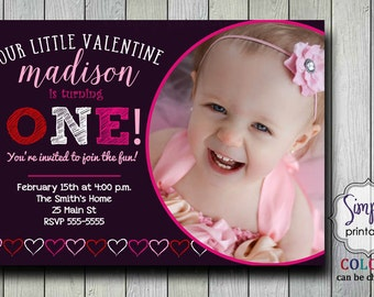 1st Birthday Valentine Invitation Red Pink Grey Dark Purple