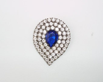 Blue Rhinestone Brooch / Tear Drop Pin, Cobalt Glass Jewelry, 1940s Bridal Jewelry, Statement Piece
