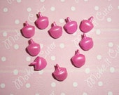 Tiny Metallic Pink Bell Charms - 10 pcs