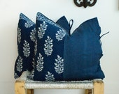 Indian Hand block Print Pillows Cushion Covers Organic Cotton and Organic Raw Linen Side Ties 22x22