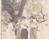 Watermelon Wishes- 1910s Antique Photograph- Kodak Moment- Edwardian Friends Eating Melon Slices- Real Photo Postcard- RPPC- Paper Ephemera