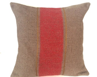 Striped Military Blanket Pillow - Oatmeal with Red & Gold