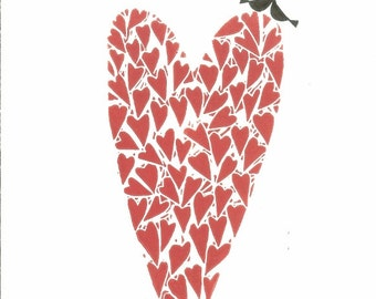 Red Heart Linocut - Love Birds,Original Print - Art Decor, Valentines Romantic Gift ,Wedding Anniversary Signed Giuliana Lazzerini