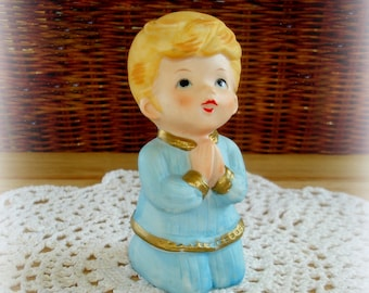 Boy in Prayer Figurine Vintage Homco #5211 Young Boy Kneeling with Hands Folded Eyes Upward Porcelain Bisque