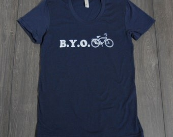 Bike TShirt - BYO Bike - American Apparel Screenprinted- Navy - Women's