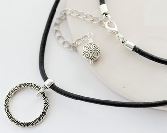 Leather Eyeglass Holder Necklace, Silver Eyeglass Chain, Leather Eyeglass Chain, Eyeglass Chain, Loop eyeglass necklace, Eyeglass Lanyard,