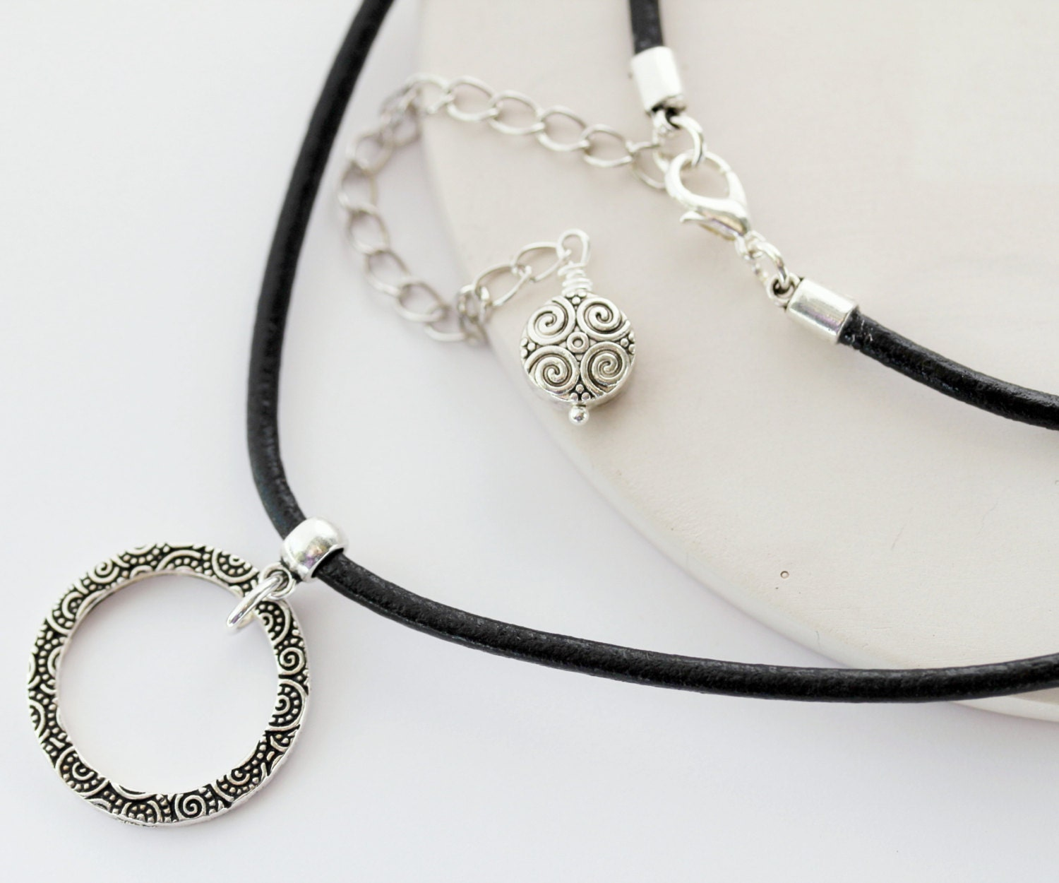 Leather Eyeglass Holder Necklace Silver Eyeglass Chain