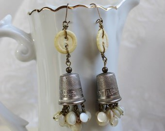 A Thimble Full- Antique Thimble and Button Earrings- Prudential Insurance Advertising Thimble