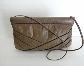 Vintage Leather Clutch Purse|Vintage Leather Oversize Handbag|Leather Shoulder Bag|Leather Cross body Purse