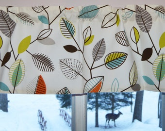 Kitchen Curtain / Valance . Covington Carson Fiesta Leaf Design . FULLY Lined.  Beautiful Handmade by SeamsOriginal