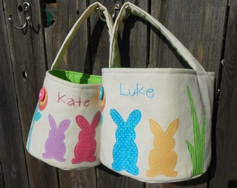 Personalized Easter Basket with Easter Bunnies | All Handmade Canvas Fabric Easter Basket | Pick your Easter Bunny Color for Basket