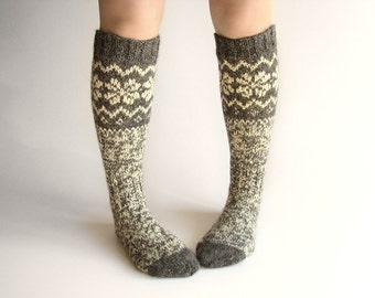 Knee Socks EU size 37.5-39 - High Hand Knitted Patterned Fair Isle Socks - 100% Natural Organic Undyed Wool - Warm Autumn Winter Clothing