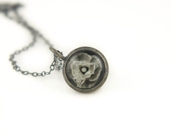 Gift for Her, Poppy Necklace, Oxidized Necklace, Photo Jewelry, Antiqued Silver Pendant on Oxidized 925 Sterling Silver Chain
